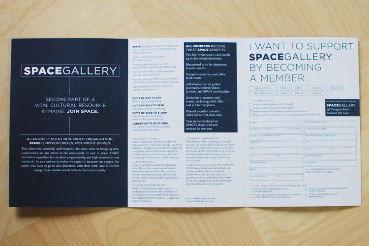 Copy of SPACE Gallery membership drive brochure design by brand design firm Might & Main