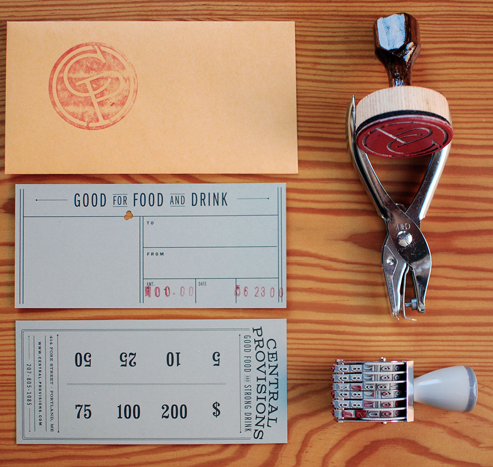 Railroad tickets inspired the gift certificate size and design, as well as the idea to hole punch them to indicate the amount of the gift
