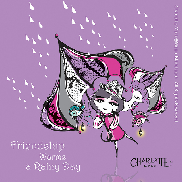 Licensing Code: 0010, Friendship warms a rainy day