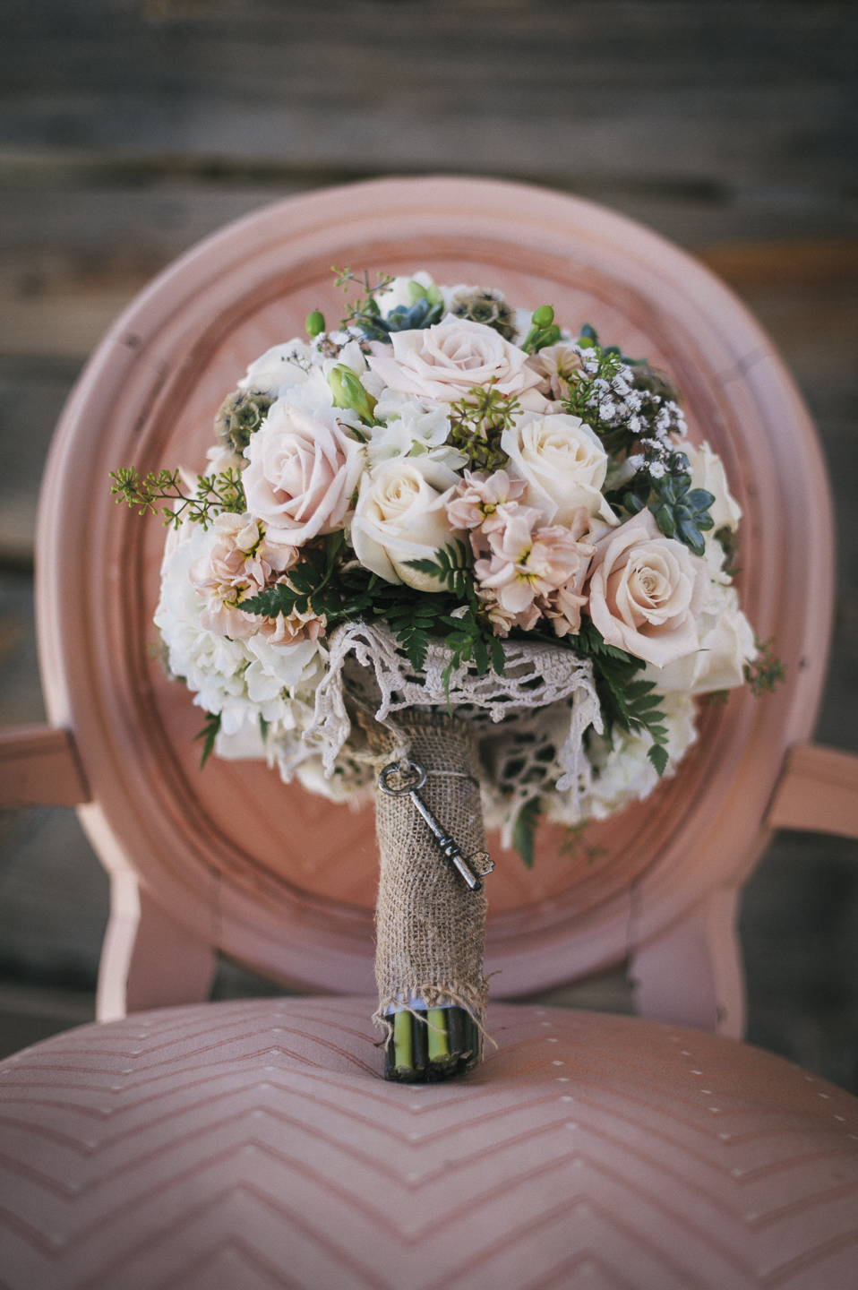 Vintage wedding bouquet with key