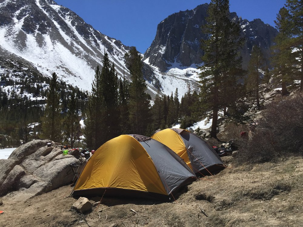 Camping above Second lake, in view of Temple Crag.