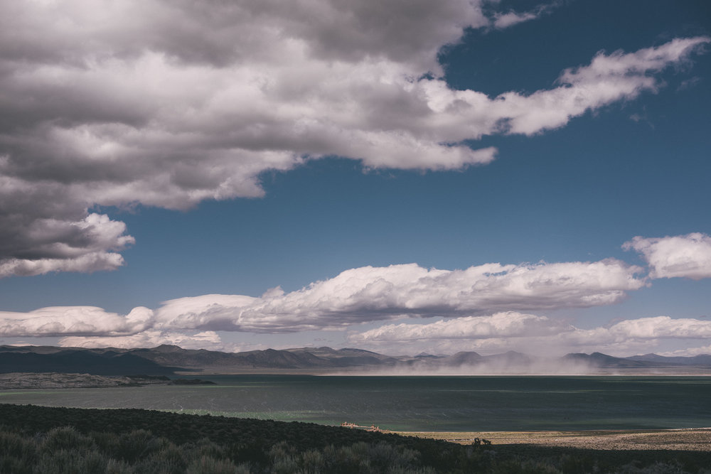 Dust storm on mono lake, eastern sierra