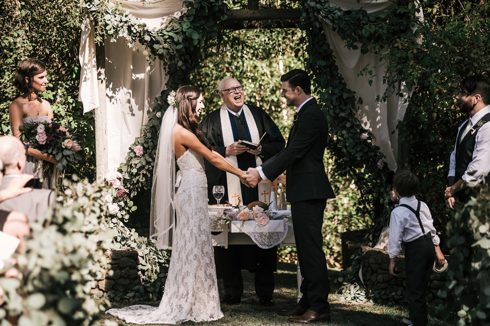 Beautiful marriage ceremony at the Quail Haven Farm in Vista, California.