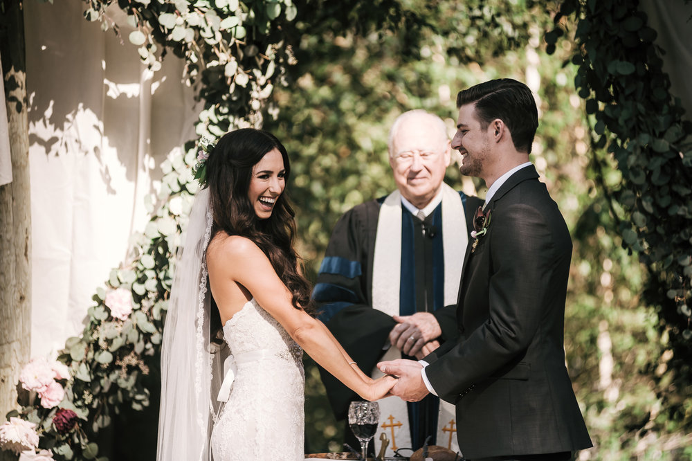 Couple ties the knot with laughter and smiles at their stunning ceremony in Vista California.