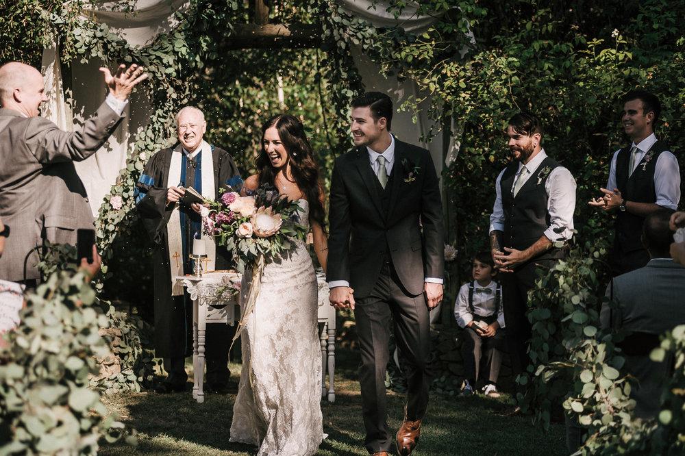 romantic wedding ceremony at quail haven farms vista California