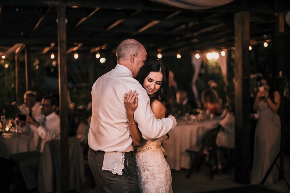 at this Quail Haven Farm wedding reception, the father and daughter shared a touching moment.