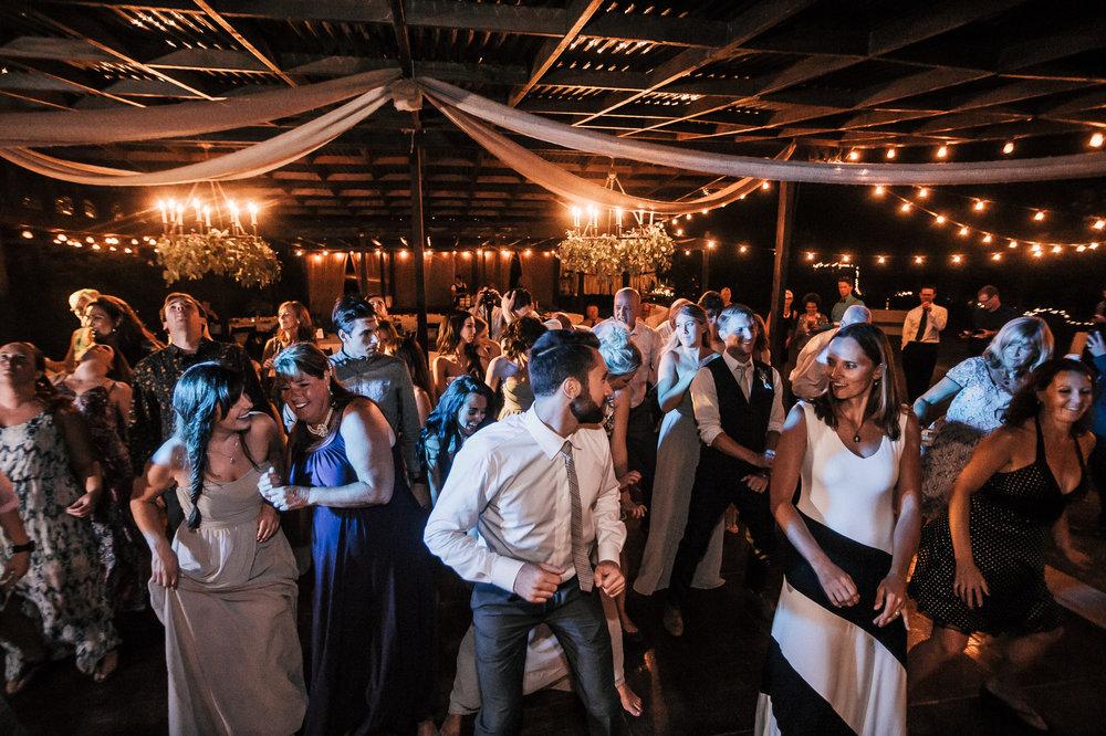 Guests dancing at quail valley farm wedding venue