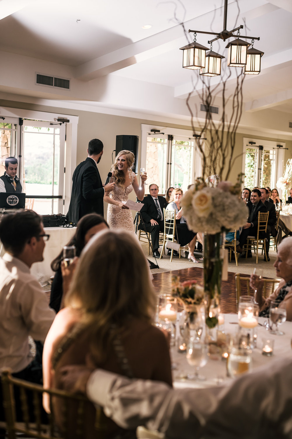 bride and groom thank their guests and give a toast at wedding reception at the Twin Oaks Golf Course in San Marcos, San Diegos premier wedding venue
