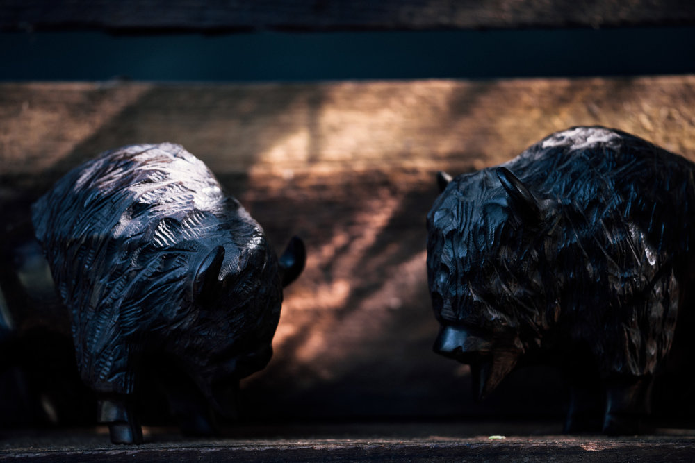 wooden buffalos shot by wedding photographer at the charming St. George Hotel in Volcano California