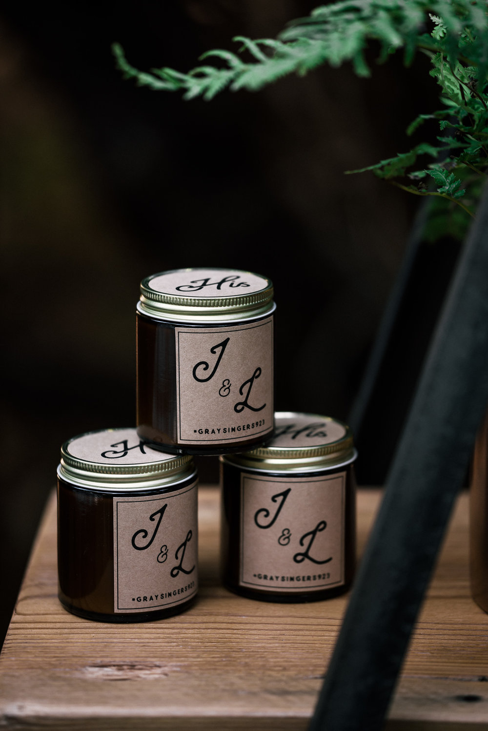 him and her's  handmade candle wedding favors shot by wedding photographer at the charming St. George Hotel in Volcano California