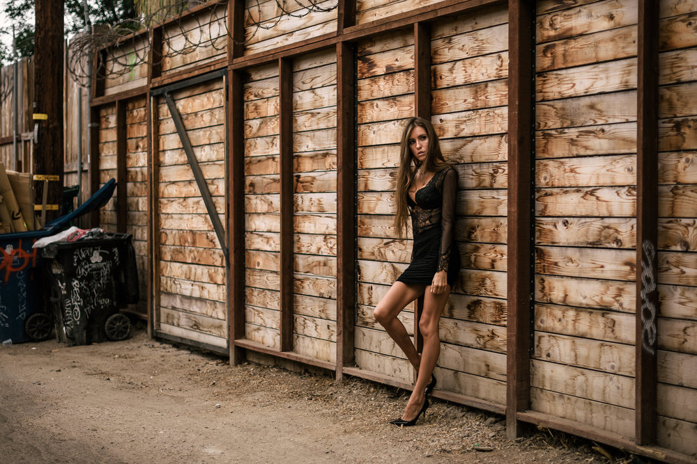 The Hungarion Brunette Lingerie as outerwear fashion photoshoot in Venice Beach California