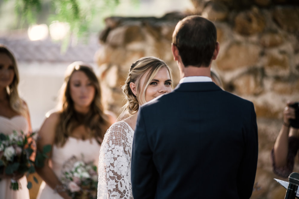 brides eye's full of love for her soon to be husband captured by photographer during romantic wedding at the historic Leo Carrillo Ranch in Carlsbad California