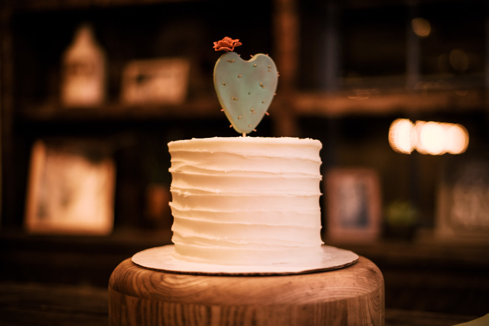 simply wedding cake with a delightful cactus topper captured by photographer during romantic wedding at the historic Leo Carrillo Ranch in Carlsbad California