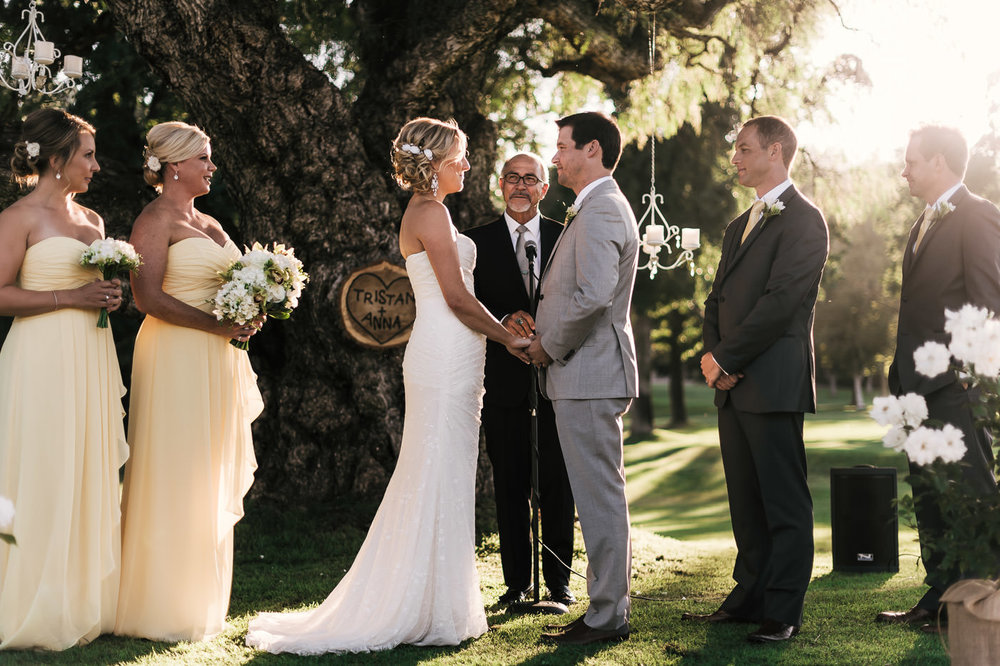Romantic wedding ceremony beneath an old oak tree in the golden light of sunset at Pauma Valley Country Club near Temecula California