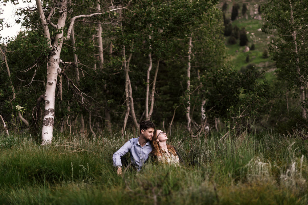 Engaged couple sits in the tall grass of a meadow backed by birch trees in the mountains of Sequoia national park for their engagement shoot