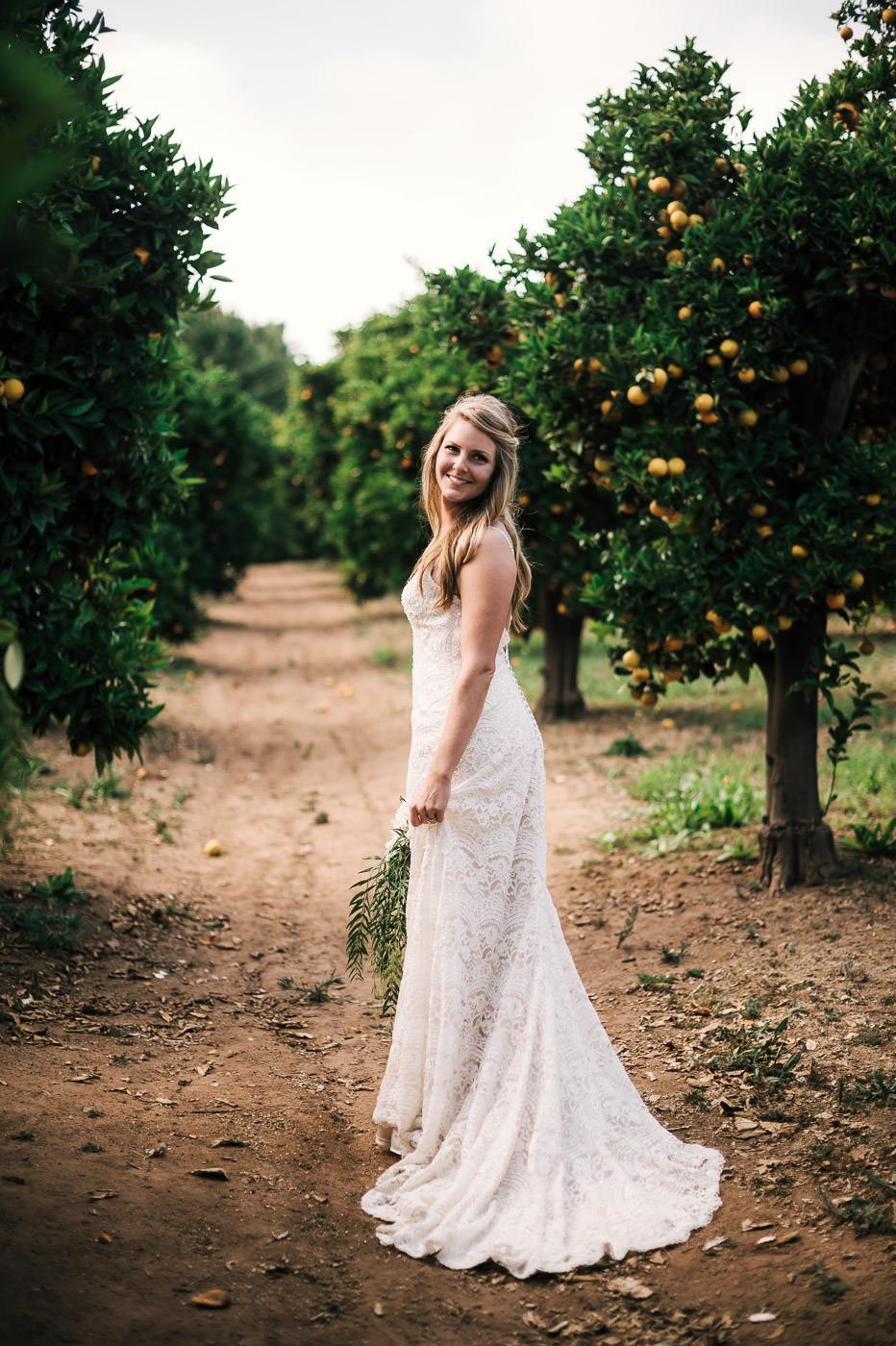 Wedding photographer takes portraits of the bride walking through the orange trees of Temecula California.