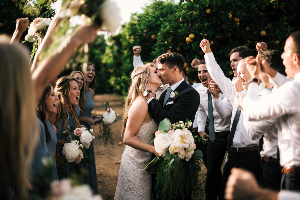 Groom gives his new bride a romantic kiss in the orange orchards of Temecula California as the wedding party cheers on the happy couple.