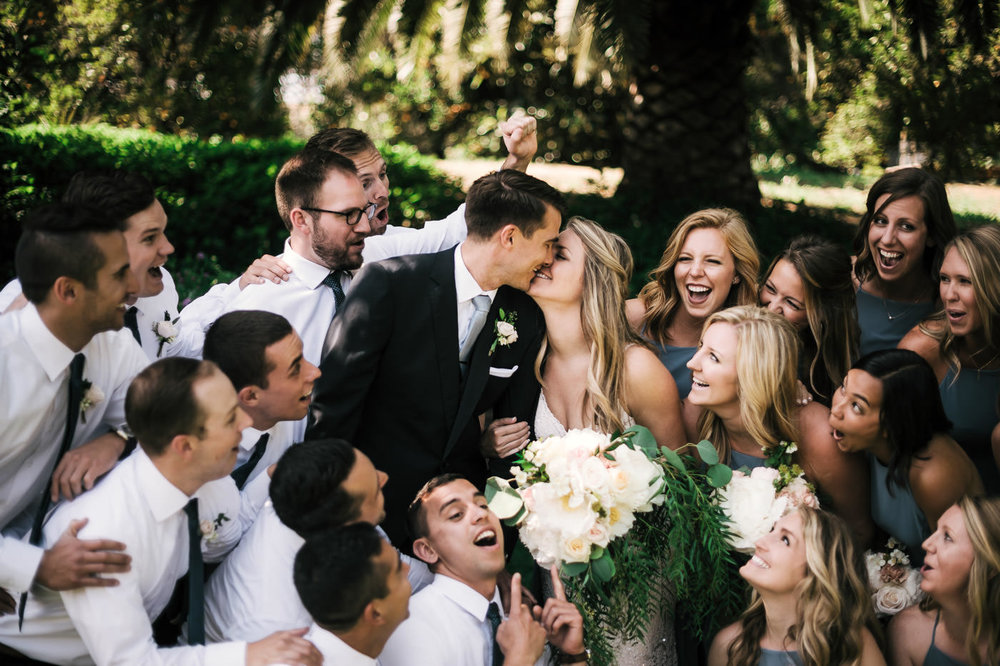 This couple opted to have a large bridal party at their Temecula wedding.