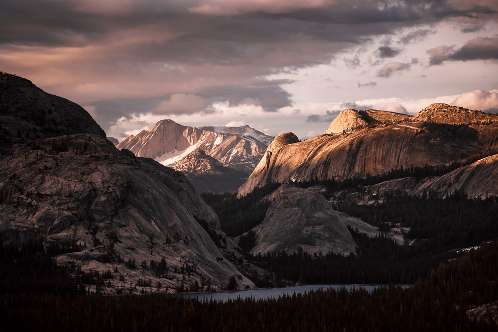 Sunset on the High Sierra with Tenaya Lake in the Foreground. Photographed from Olmsted Point in Yosemite National Park