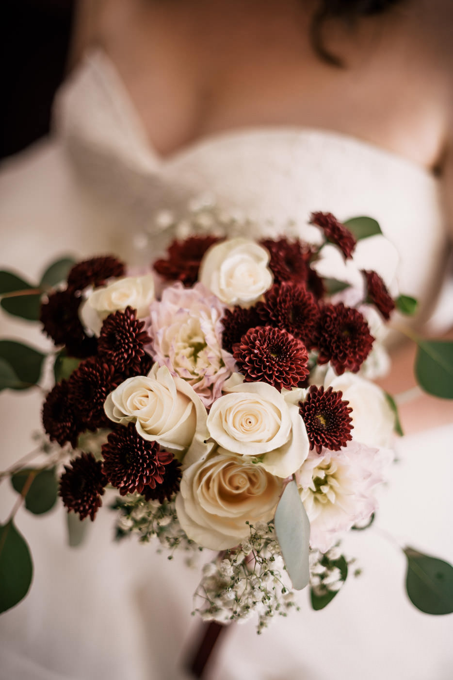 Brides classic red and white wedding bouquet.