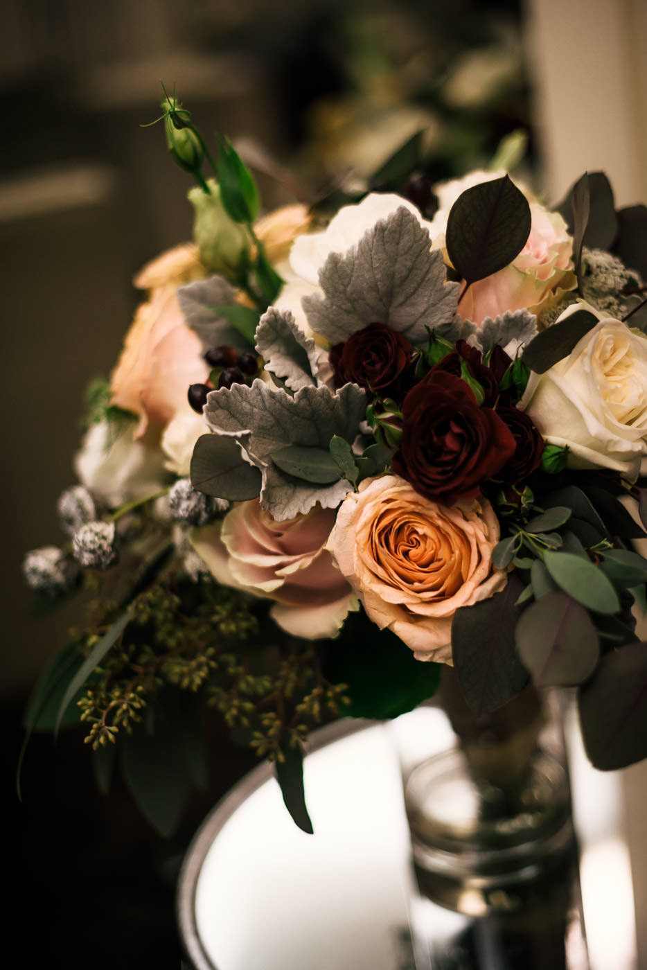 Gorgeous wedding bouquet in a vase.