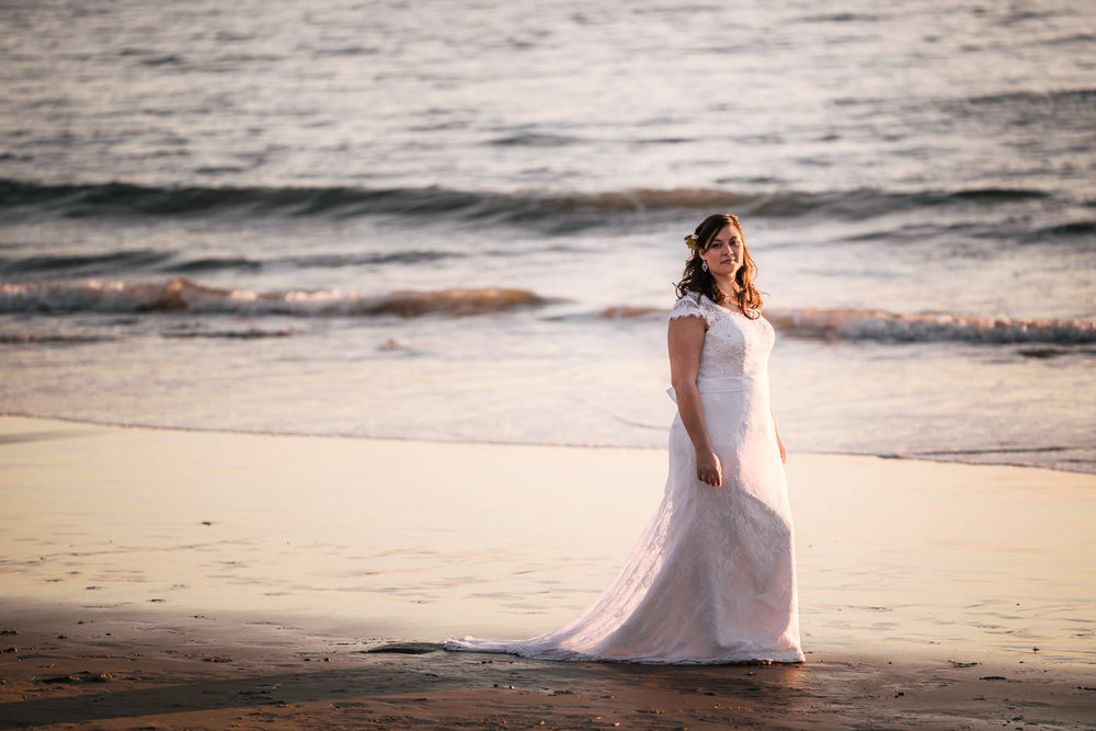 Portrait of a bride at sunset in Laguna Beach.