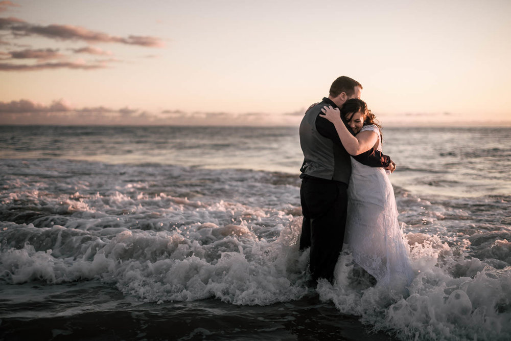 Romantic Laguna Beach wedding photography at sunset.