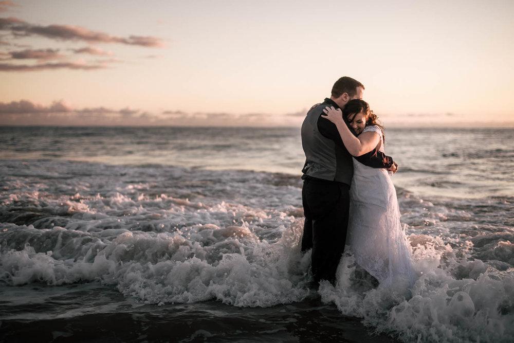 Romantic Laguna Beach wedding photography at sunset.