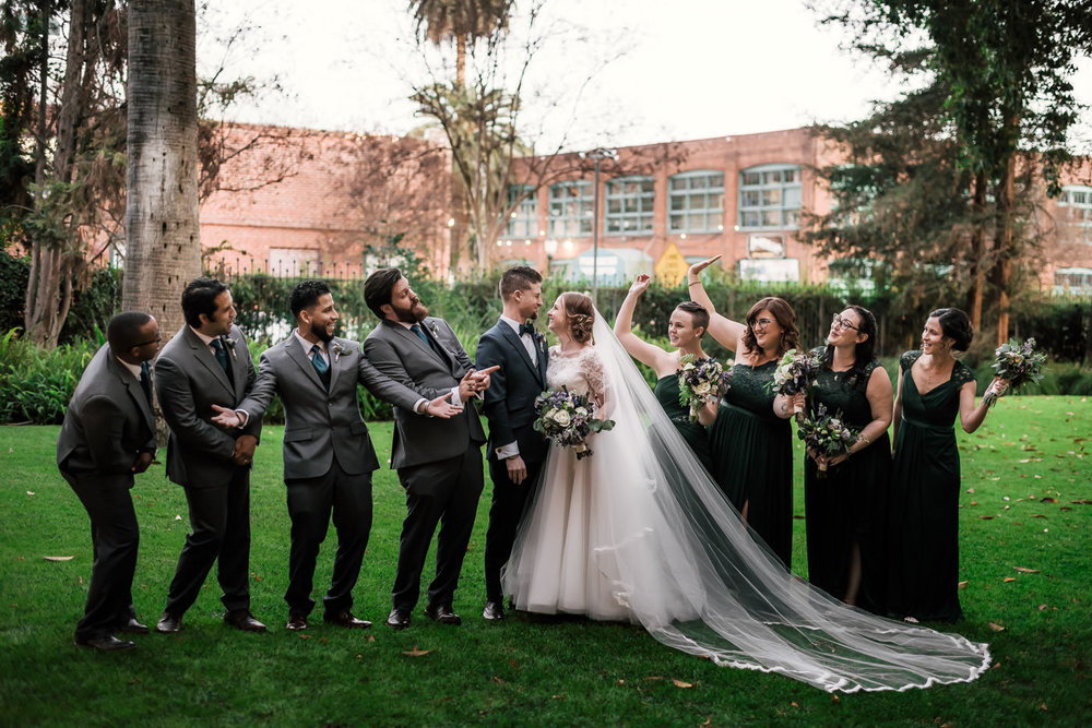 Bridal party celebrates the happy couples marriage.