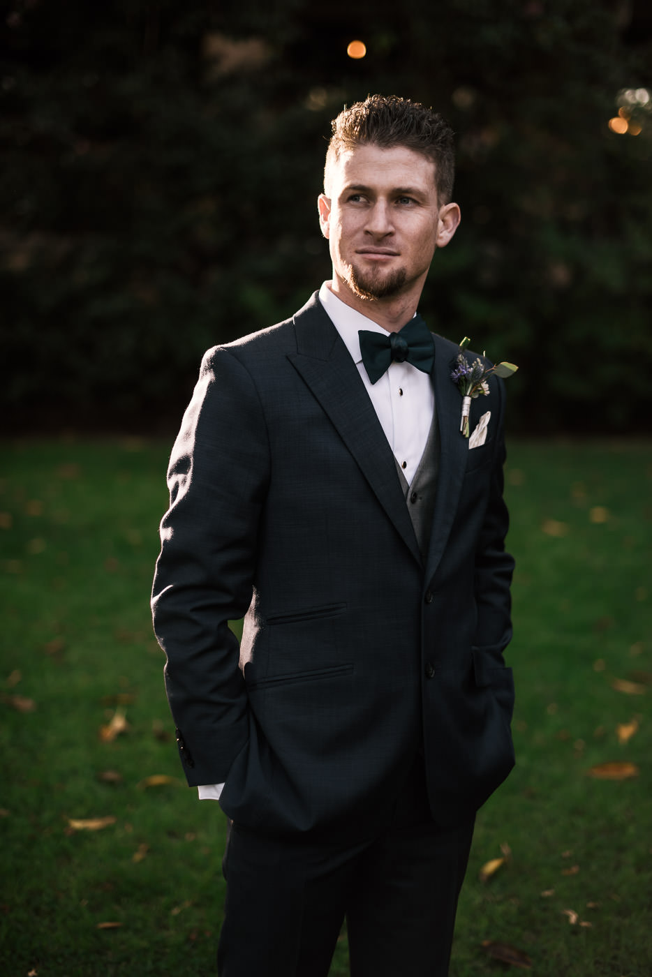 Wedding photographer captures a handsome picture of a groom in Pasadena.