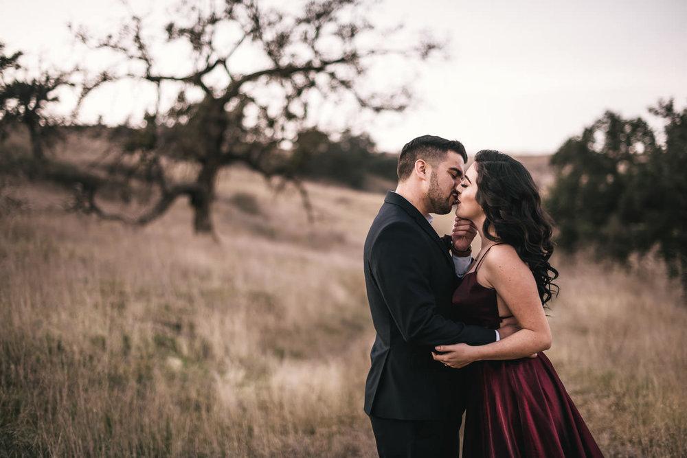 Sweet kiss at sunset in Malibu California.