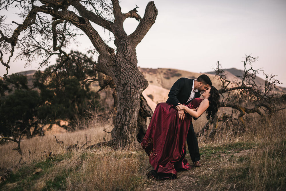 Dips are always a great idea for a romantic engagement shoot.