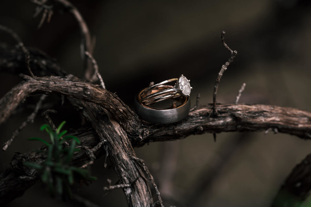 Rings: - There's no shortage of options here; from the traditional gold and diamonds, to unique materials like zebra wood. You can even opt to go without.