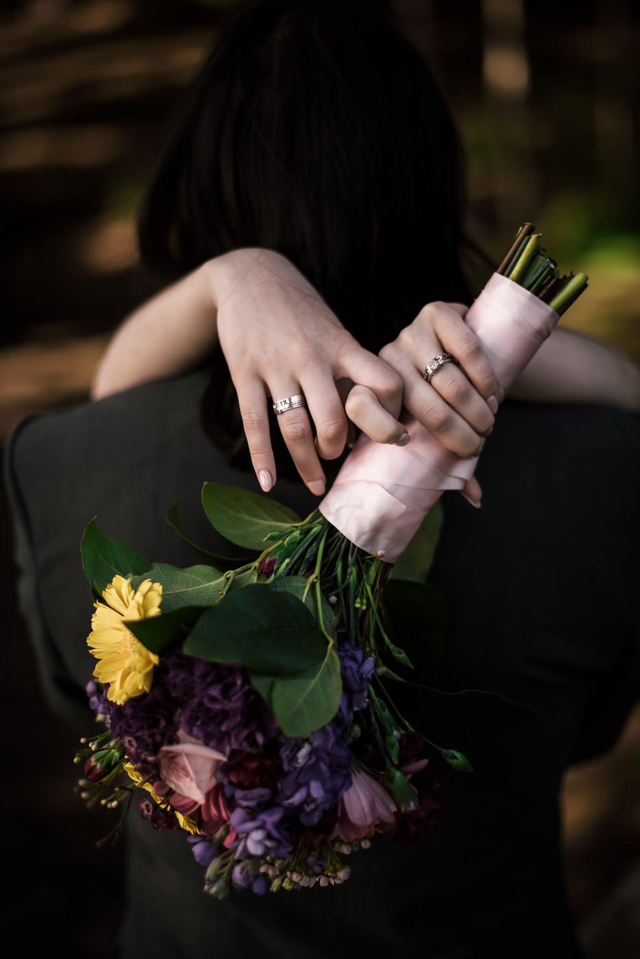 Beautiful photograph of a bride's wedding ring and bouquet.