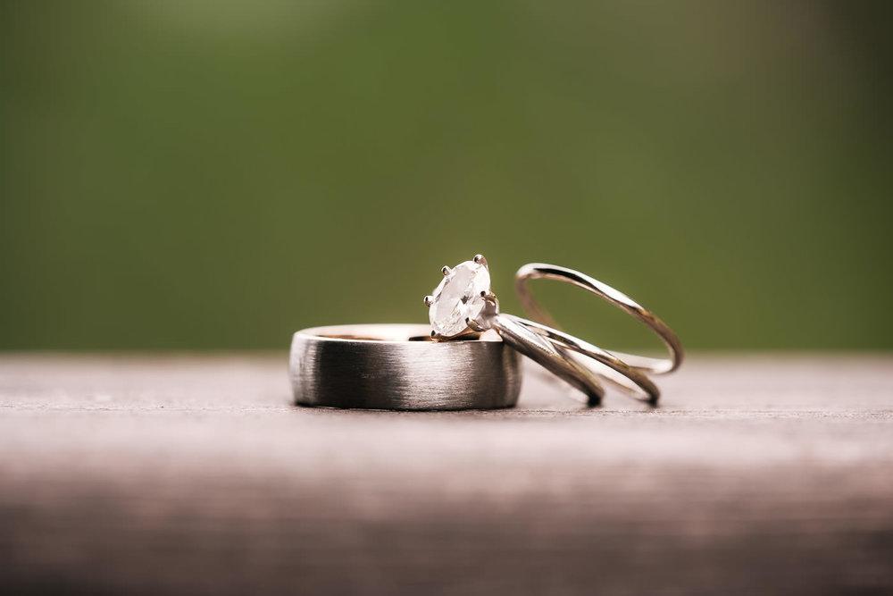 Macro photo of bride and groom's wedding rings.