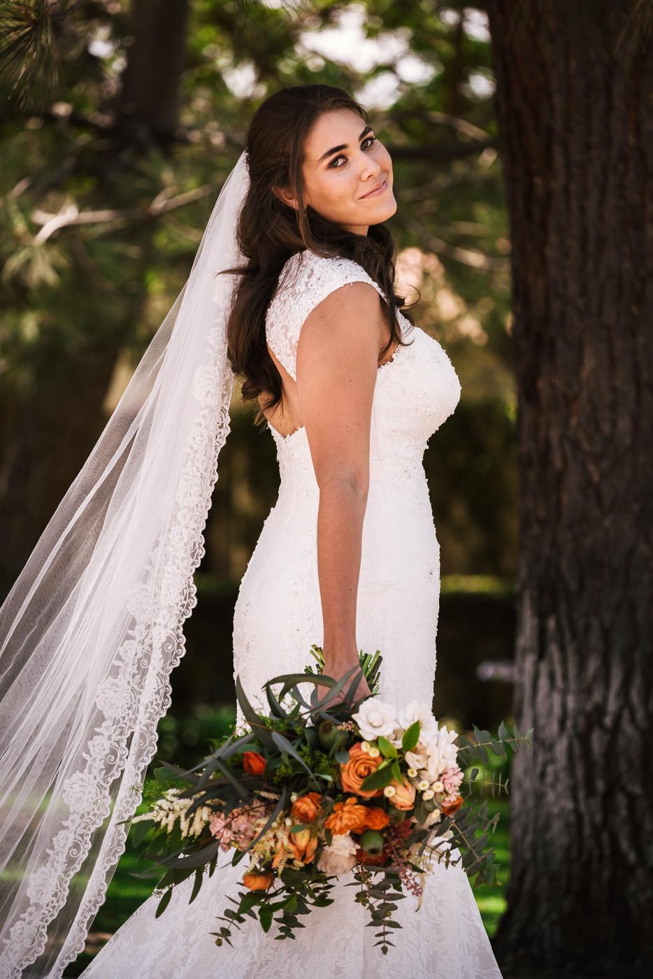 San Diego wedding photographer creates a stunning portrait of a bride.