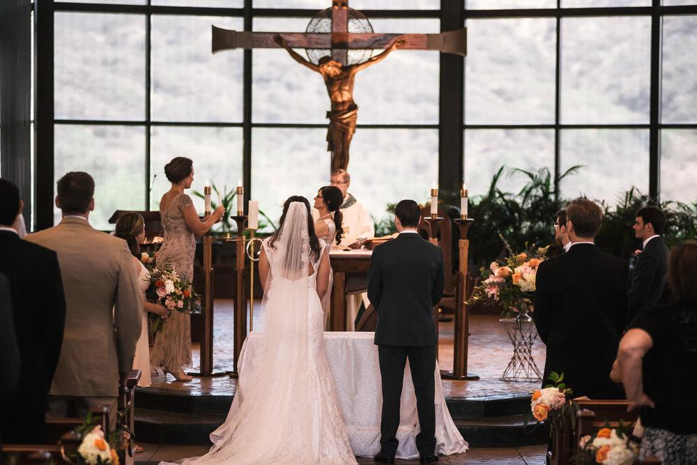 Catholic wedding ceremony at St Therese Carmel Church in La Jolla.