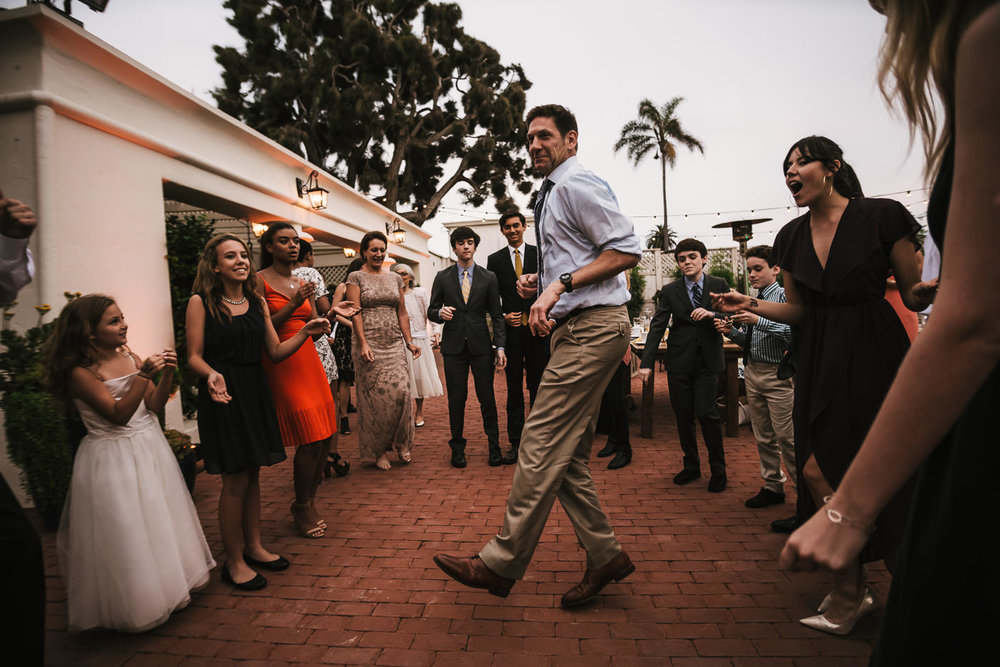 Wedding guests have a blast at this reception.