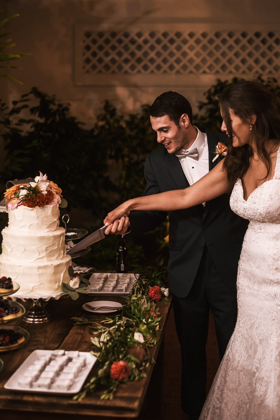 Couple cuts their wedding cake at the reception.