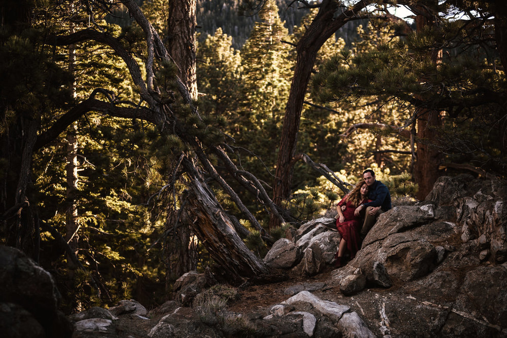 Romantic engagement at sunset in the woods of Mt San Jacinto.