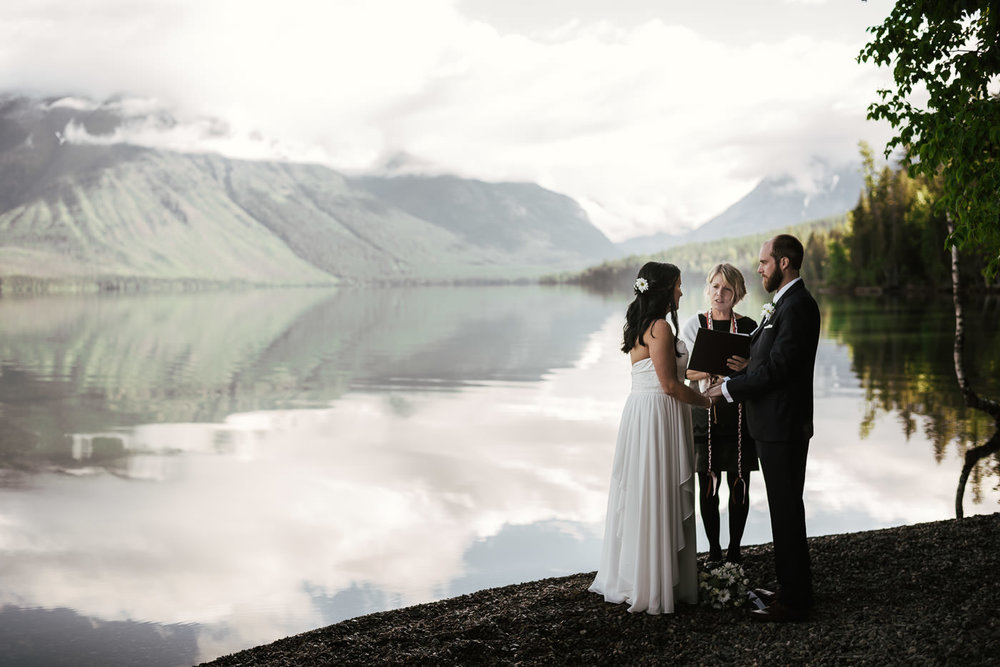Couple says their vows in Glacier National Park in Montana.
