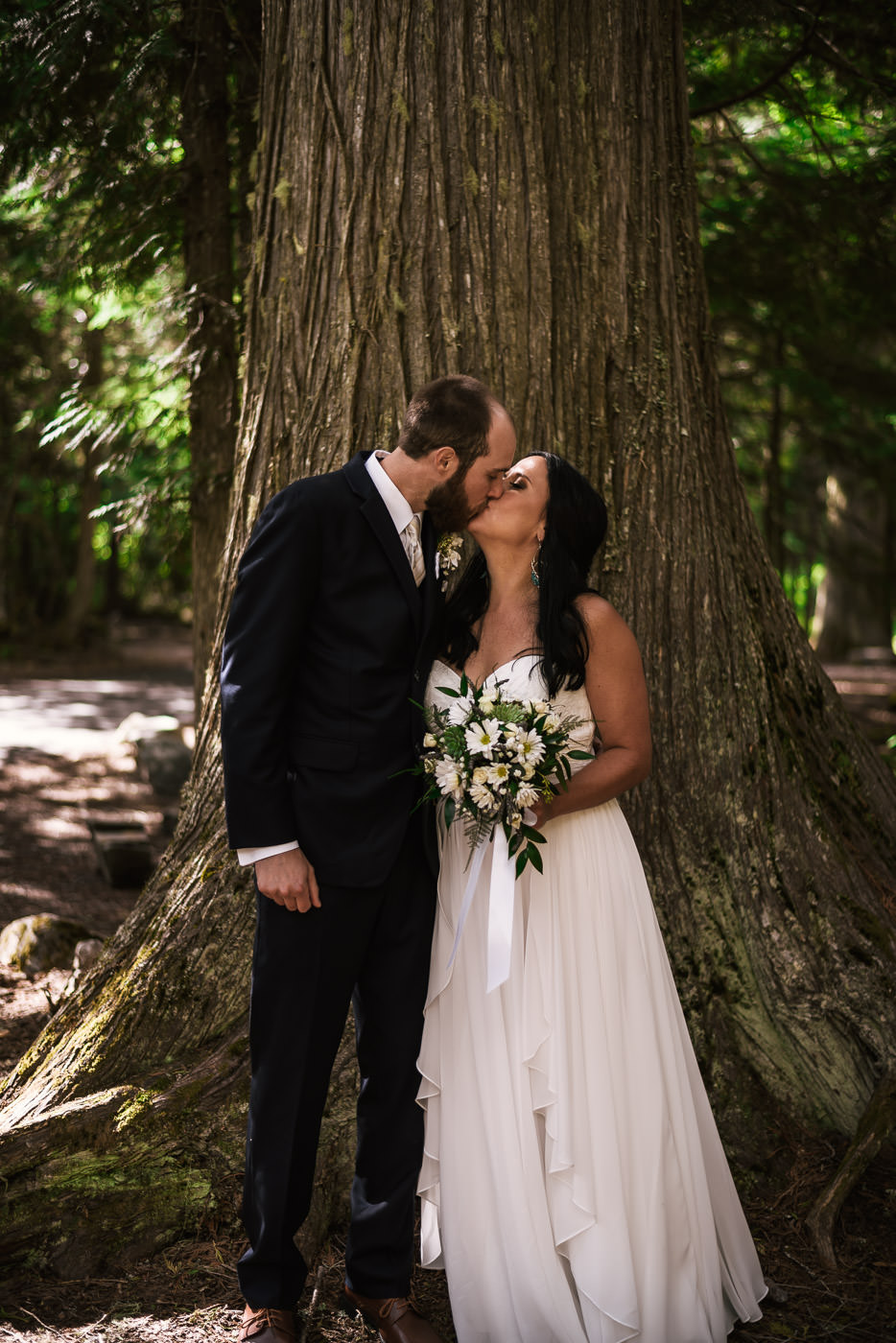 Couple kisses before an old ceder tree in Glacier National Park.