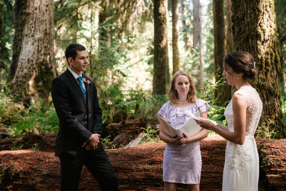 Touching marriage vows from these two lovebirds during their Hoh Rainforest elopement.