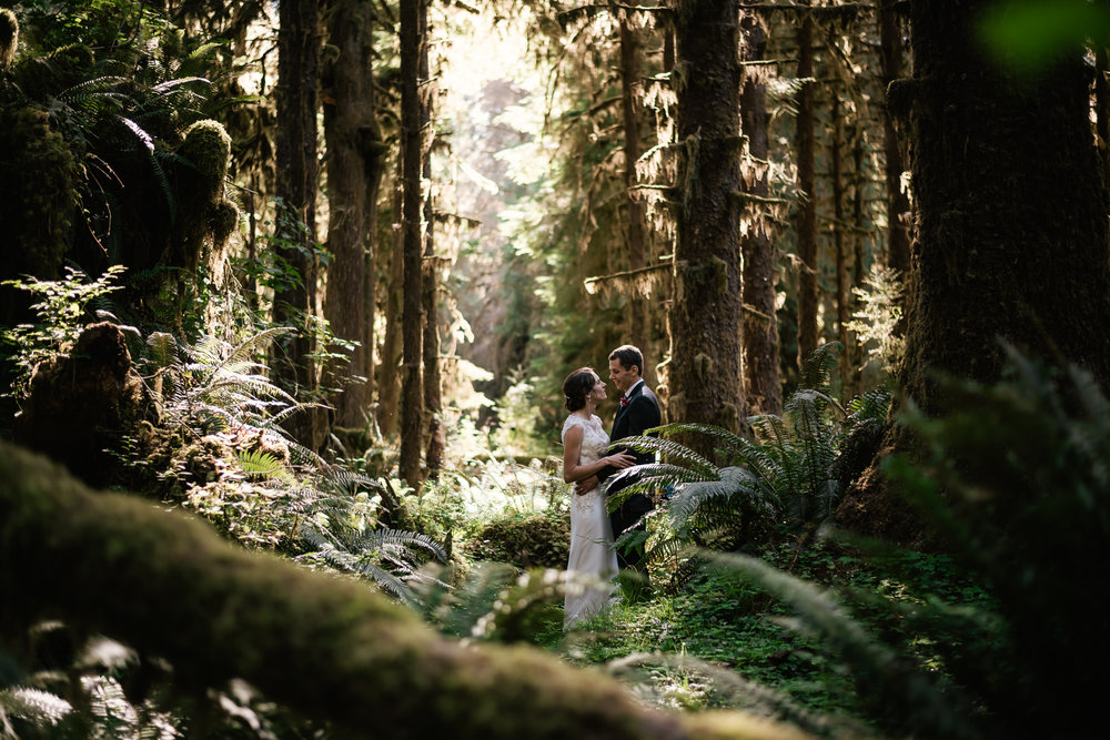 Couple elopes to the lush ferns and hanging mosses of the Hoh Rainforest in Washington.