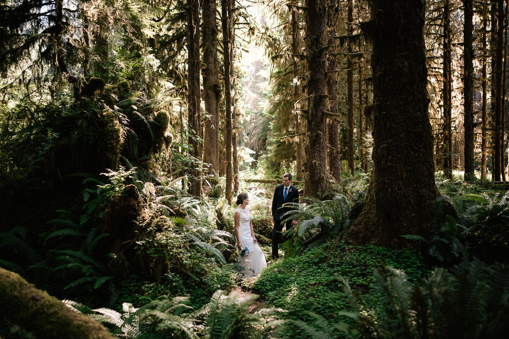 Best place to elope in the Pacific Northwest, Hoh Rainforest in Olympic National Park.