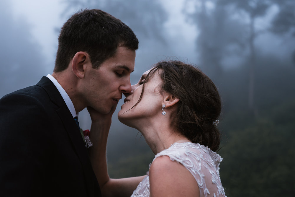Romantic kiss between newlyweds with a background of forest and fog.
