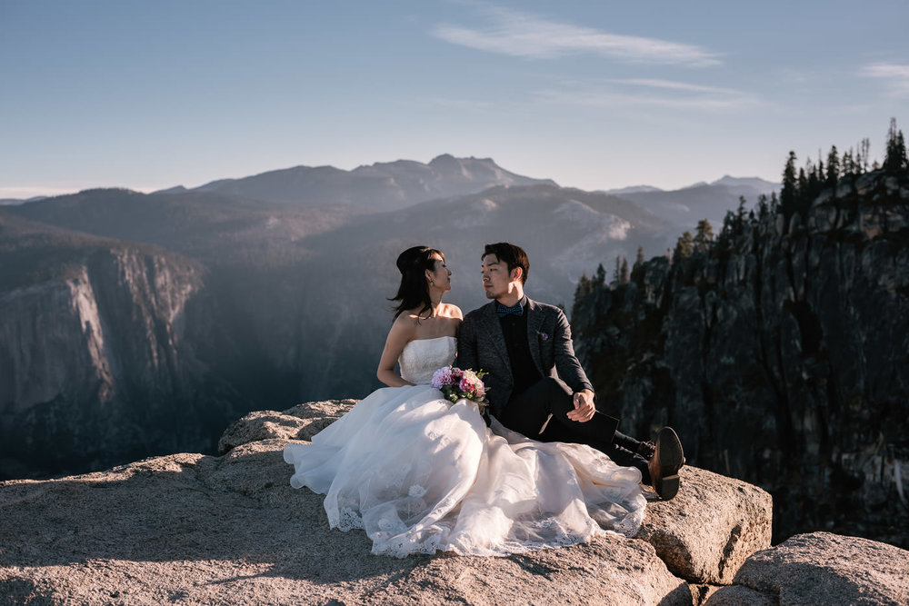 Couple stares lovingly into each other's eyes during their national park elopement.