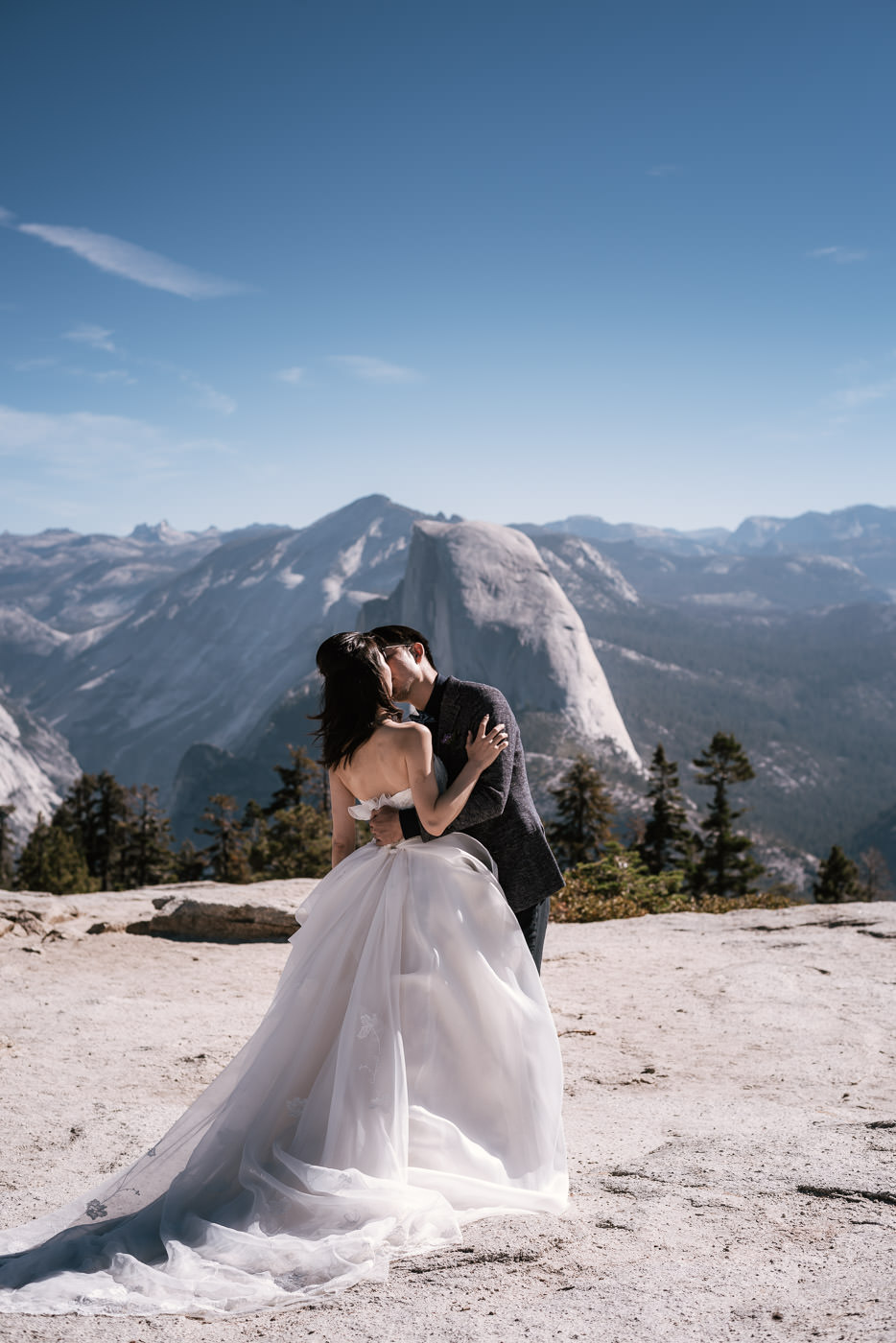 Wedding ceremony at Sentinel Dome in Yosemite National Park.