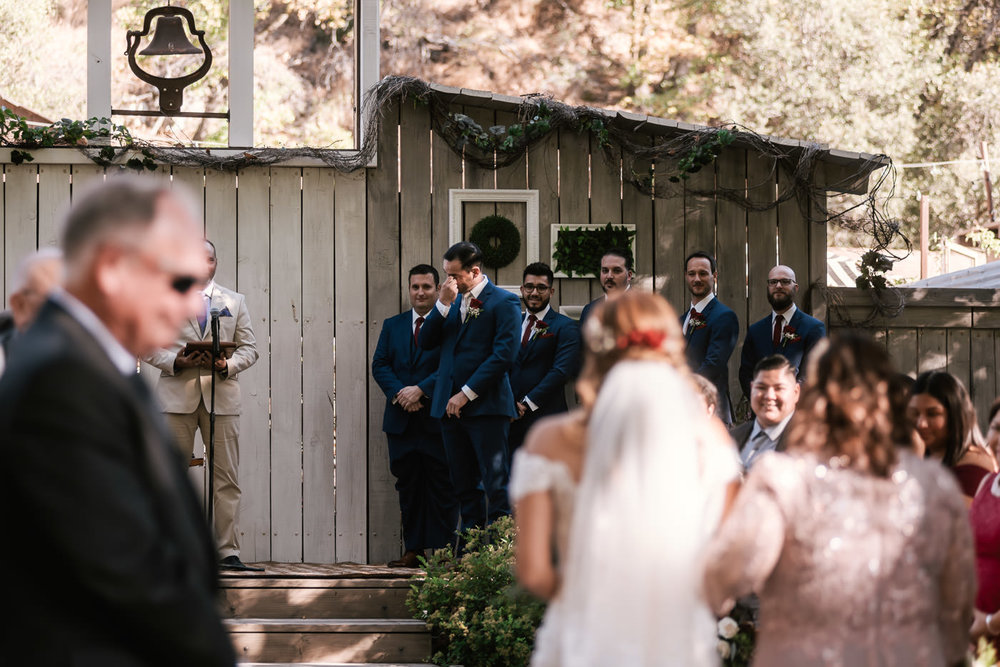 Groom gets teary eyed as he is overcome with emotion at his marriage ceremony at The Homestead.