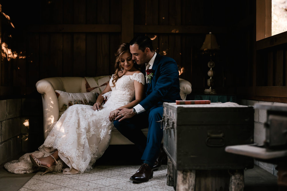 Bride and groom have an amazing photoshoot after their rustic wedding at The Homestead.